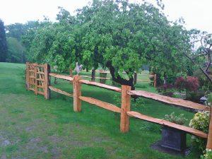 Cleft oak post and rail